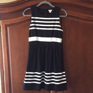 J.Crew Black and White Striped Dress XS NWT